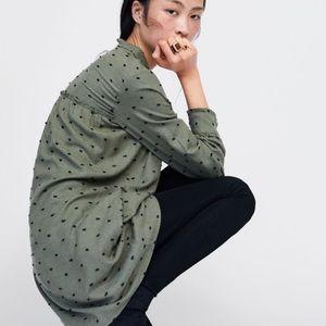 NWT💕Zara Contrasting Swiss Dot Olive Dress